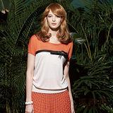 【麥雪爾】自然奧妙~彩感拼接蝴蝶結胸飾針織上衣
