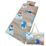 【享夢城堡】哆啦A夢 飛飛樂系列-鋪棉兩用兒童睡袋(棕)