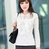 【公主衣櫃 中大尺碼】OL荷葉邊透光蕾絲衫-白色 預購MS2202