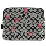 COACH POPPY格紋織布iPad保護套(黑灰紅)