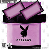 La Veda【PLAYBOY】絲質緞面雙人加大兩用被床包組-優雅紫