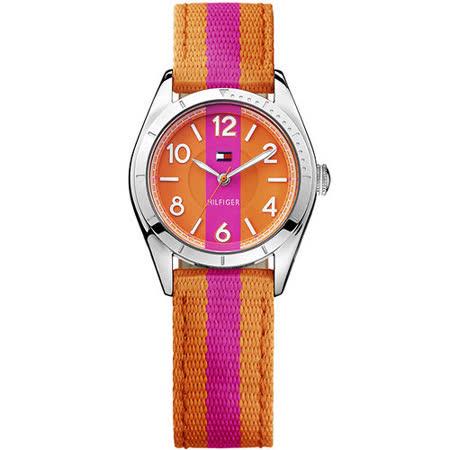 TOMMY HILFIGER 雙色美式風帆布腕錶-橘/桃紅 M1781296