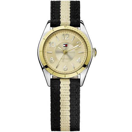 TOMMY HILFIGER 雙色美式風帆布腕錶- 金/黑 M1781297