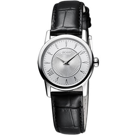 Hugo Boss 德式羅馬都會石英女錶-銀/黑 H1502328
