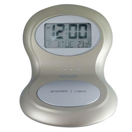 日本CITIZEN立體雙圓潮流電子鬧鐘-DX8136金色