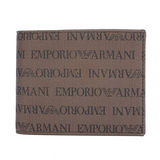 Emporio Armani 滿版字母LOGO繡紋零錢短夾-咖啡金
