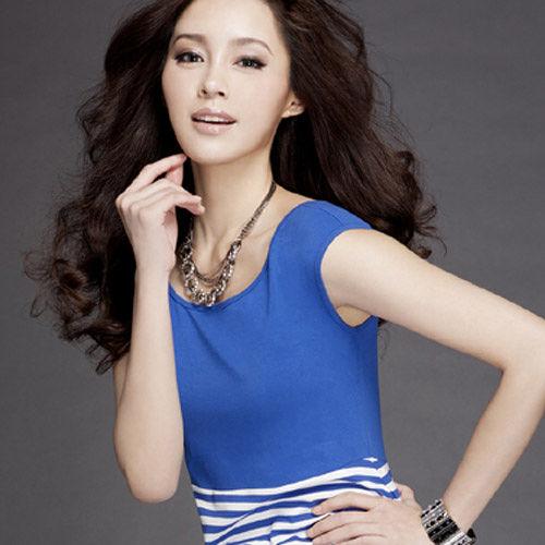 ~Audrey~粉領貴族 條紋款洋裝BraT恤^(藍色^)