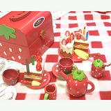 木製草莓蛋糕點心手提組(木製蛋糕點心玩具組)
