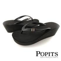 美國POPITS 7 公分厚底夾腳拖(黑色)