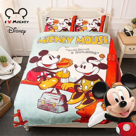 【Disney】米奇野餐-雙人四件式床包薄被套組-臺灣製