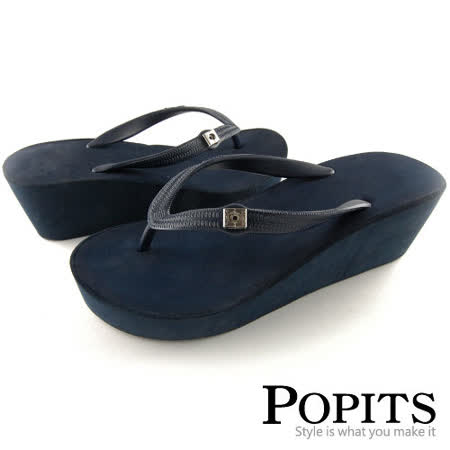 美國POPITS 7 公分厚底夾腳拖(藍色)