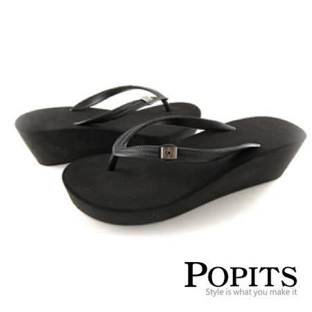 美國POPITS 5 公分厚底夾腳拖(黑色)
