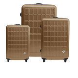 Miyoko☀趣味方塊系列☀ABS輕硬殼行李箱三件組-時尚金