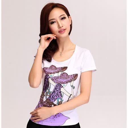 【韓系女衫】紫色歐風女郎修身T恤