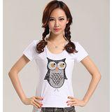 【韓系女衫】 可愛貓頭鷹圖樣修身T恤