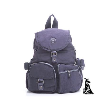 冰山袋鼠 - 輕盈系休閒運動風雙口袋防水後背包-深紫