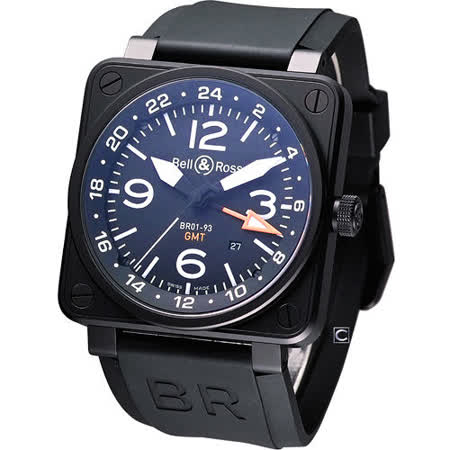 Bell & Ross GMT 機械腕錶BR0193-GMT-SRU黑