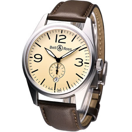 Bell & Ross VINTAGE系列 飛官軍用機械錶-(BRV-123-BE-ST-SWA)米黃色