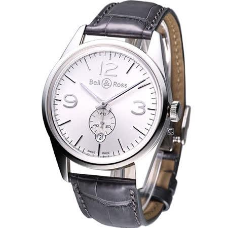 Bell & Ross空戰傳奇 飛行自動機械腕錶-(BRG123-WH-ST-SCR)銀白