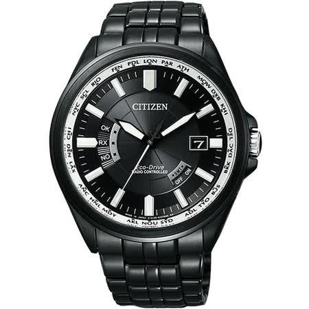 CITIZEN Eco-Drive 電波萬年曆鋼帶腕錶-IP黑 CB0014-52E