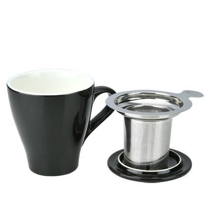 Tiamo 16號馬克杯組【黑色】附杯蓋.不鏽鋼濾網 350cc (HG0760BK)