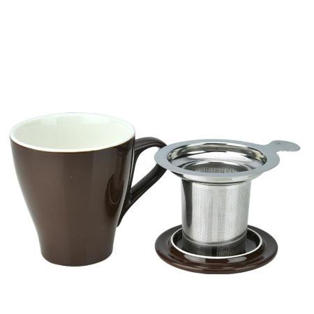 Tiamo 16號馬克杯組【咖啡色】附杯蓋.不鏽鋼濾網 350cc (HG0760BR)