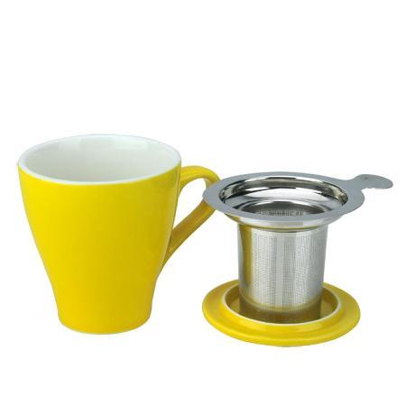 Tiamo 16號馬克杯組【黃色】附杯蓋.不鏽鋼濾網 350cc (HG0760Y)