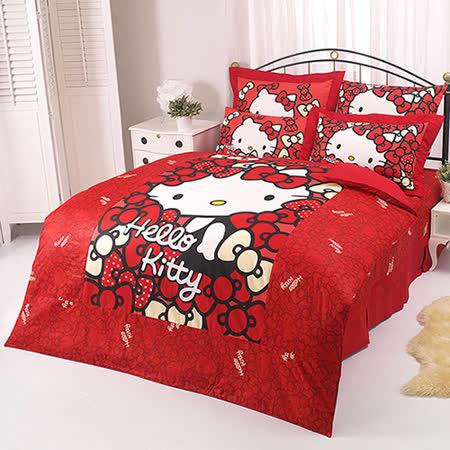 【享夢城堡】HELLO KITTY 我的Ribbon時尚系列-單人純棉三件式床包薄被套組(紅)