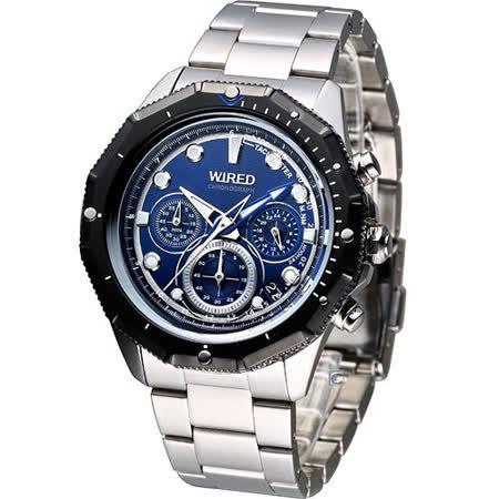 WIRED THE BLUE 潮流型男 計時腕錶VK63-X012A藍AU2091X
