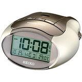 SEIKO 精工Digital數位金鋼貪睡鬧鐘-香檳金 QHL023S