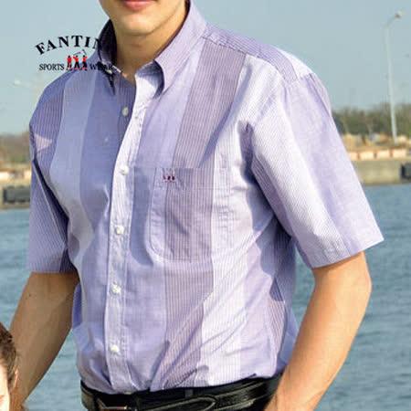 【FANTINO】男款 歐風時尚輕薄親膚男襯衫(條紋紫) 334509