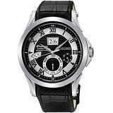 SEIKO Kinetic 專業萬年曆腕錶-黑 7D48-0AL0J
