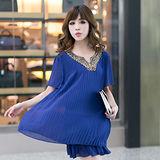 【公主衣櫃 中大尺碼】雪紡百摺燙鑽層次感洋裝-藍色 預購MS2315