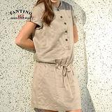 【FANTINO】氣質高雅連身綁帶洋裝(卡其) 372105