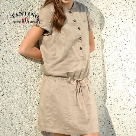 【FANTINO】女款 氣質高雅連身綁帶洋裝(卡其) 372105