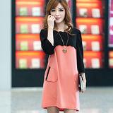 【公主衣櫃 中大尺碼】溫柔氣質粉紅撞色花邊洋裝 預購MS527