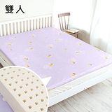 奶油獅 正版授權-馬來西亞進口100%天然乳膠床墊-雙人5尺-厚5公分-附精梳純棉布套(幻紫)