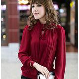 【公主衣櫃 中大尺碼】質感歐洲品味抓摺小立領綁結上衣-紅色 預購MS2206