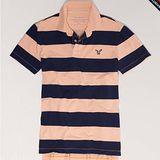 預購◈美國【AE-4】男裝STRIPED條紋配色POLO短衫(橘)