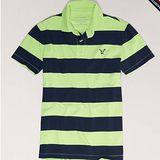 預購◈美國【AE-4】男裝STRIPED條紋配色POLO短衫(綠)