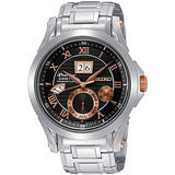 SEIKO Premier 萬年曆人動電能腕錶(黑+玫瑰金) 7D48-0AL0K
