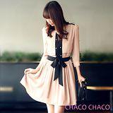 預購【CHACO韓國】配色雪紡金釦六分袖綁帶連身洋裝CLDA-O-6(粉色ML)