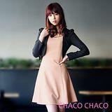 預購【CHACO韓國】假兩件練帶配色連身七分袖大擺洋裝CLDA-O-30(粉色ML)