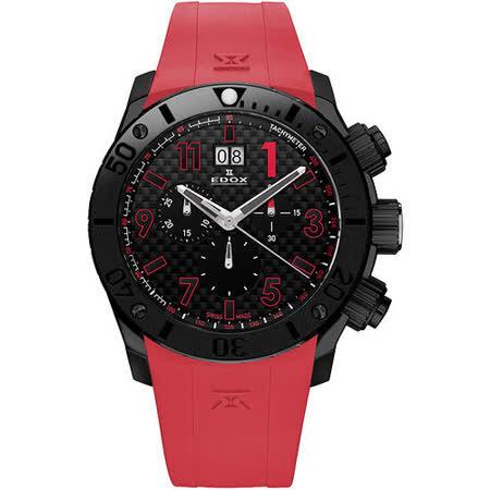 EDOX Class-1 Chronoffshore 大日期陶瓷計時腕錶-黑/紅 E10020.37N.NRO2