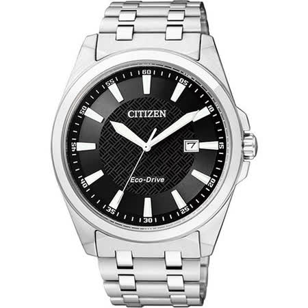 CITIZEN Eco-Drive GENT'S 時尚都會腕錶-黑/銀 BM7101-56E