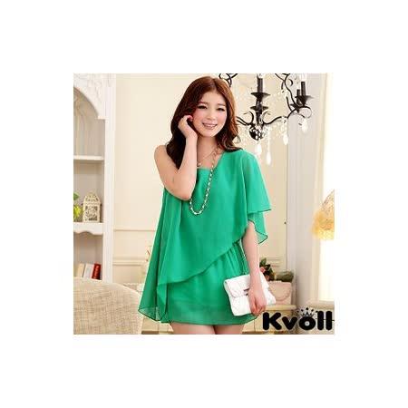【KVOLL中大尺碼】綠色不規則單肩雪紡上衣