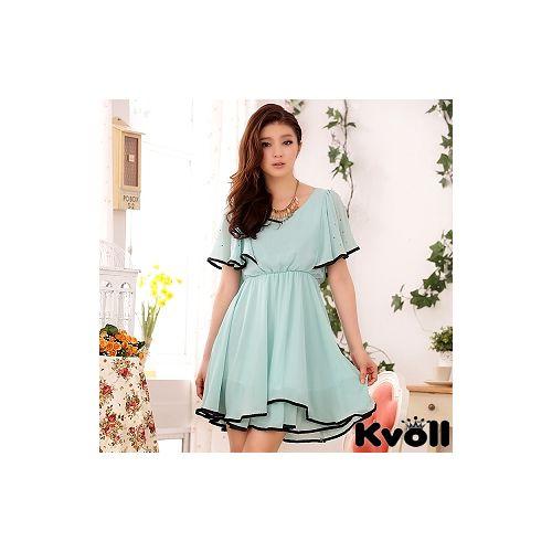 【KVOLL中大尺碼】藍色燙鑽荷葉袖雪紡連衣裙
