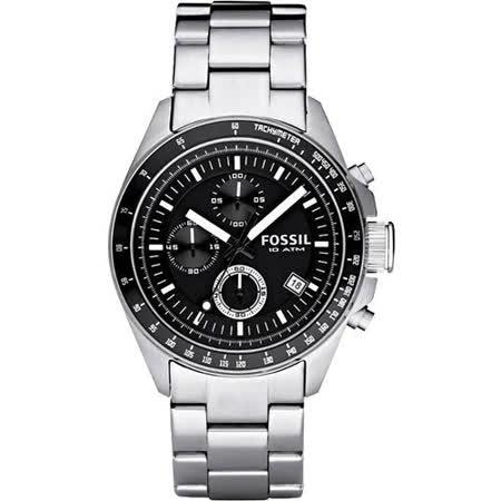 FOSSIL 都會摩登三眼計時腕錶-黑/銀 CH2600