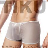 【TIKU 梯酷】~  猛男呼吸款 全透明網料性感平口男內褲 -白色 (WN1767)