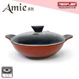 韓國NEOFLAM Amie系列 28cm陶瓷不沾雙耳炒鍋+玻璃鍋蓋(電磁)(EK-AW-T28)